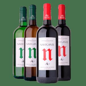 Quatro garrafas de vinho. Da esquerda para a direita: Navegante Regional Branco 1L, Navegante Regional 0,75L, Navegante Regional Tinto 1L e Navegante Regional Tinto 0,75L. Vinhos Adega Vidigueira Cuba e Alvito